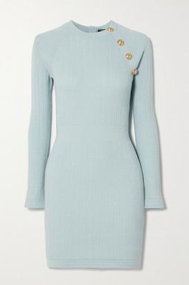 Balmain Button-embellished Ribbed-knit Mini Dress - Blue