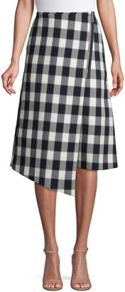 HUGO Checkered Cotton-Blend Wrap Skirt