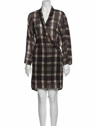 Etoile Isabel Marant Plaid Print Mini Dress Brown