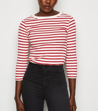 New Look Stripe Ribbed 3/4 Sleeve T-Shirt