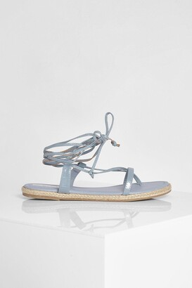 boohoo Strappy Espadrille Wrap Up Sandal