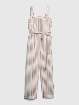 Gap Apronneck Stripe Jumpsuit in Linen-Cotton