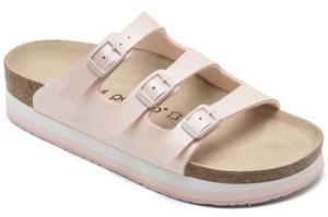Birkenstock Women's Florida Birko-Flor Nubuck Icy Metallic Soft Footbed Sandals from Finish Line