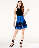 Trixxi Juniors' Velvet Flocked Fit and Flare Dress
