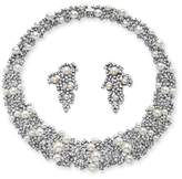 Seta Jewelry Simulated Pearl And Crystal Choker Necklace And Earrings Set.