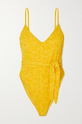 Mara Hoffman Gamela Belted Textured Swimsuit - Yellow