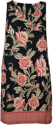 Evans Floral Shift Dress -Black