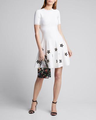 Oscar de la Renta Short-Sleeve Flower Applique Knit Dress