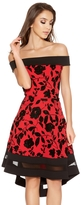Quiz Red And Black Glitter Flower Print Dip Hem Dress