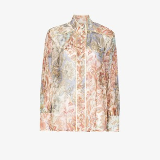 Zimmermann Floral-Print Long-Sleeve Blouse