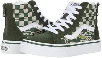 Vans Kids Sk8-Hi Zip (Little Kid) ((Camo Checkerboard) Kombu Green/True White) Kid's Shoes