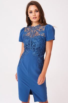 Little Mistress Dahlia Blue Crochet Lace Dress