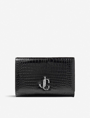 Jimmy Choo Varenne croc-embossed leather clutch