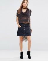 Free People Come Closer Denim Skirt