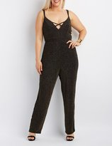 Charlotte Russe Plus Size Shimmer Strappy Caged Jumpsuit
