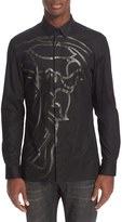 Versace Men's Trim Fit Beaded Medusa Sport Shirt