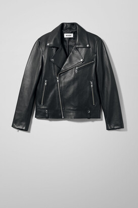 Weekday Biker Leather Jacket - Black