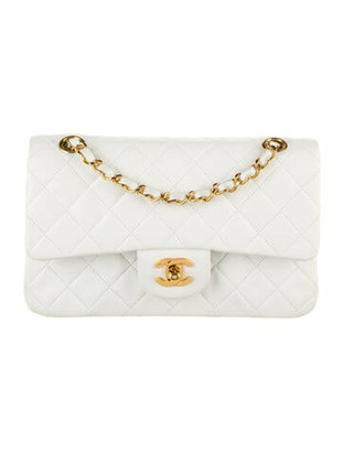Chanel Vintage Small Classic Double Flap Bag White