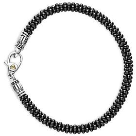 Lagos Black Caviar Ceramic Sterling Silver and 18K Gold Bracelet