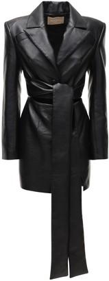 MATÉRIEL Faux Leather Mini Dress W/Self-Tie Waist