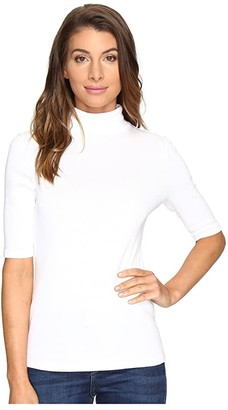 Lilla P Elbow Sleeve Turtleneck (White) Women's Clothing