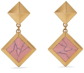 Mulberry Pyramid Pendant Earring Gold and Pink Brass