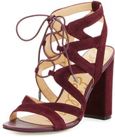 Sam Edelman Yardley Suede Lace-Up Sandal, Port Wine
