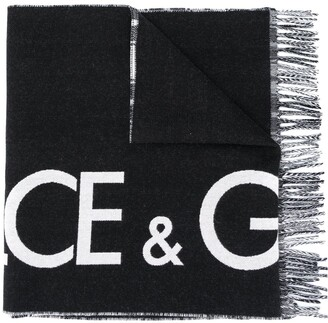 Dolce & Gabbana Reversible Logo Cashmere-Wool Blend Scarf With Check Print