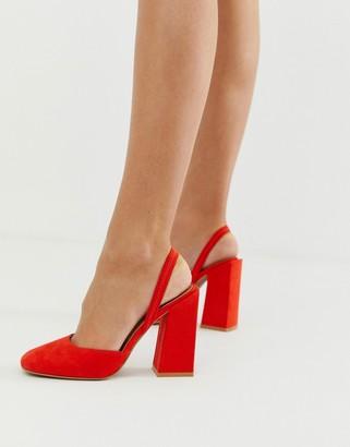Asos Design DESIGN Pivot slingback high heels-Red