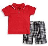 Calvin Klein Boy's Polo and Plaid Shorts Set