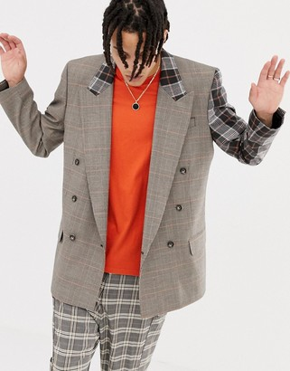 Asos Design DESIGN oversized double breasted blazer in brown check