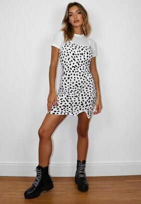 Missguided White Dalmatian Print 2 In 1 Cami T Shirt Dress