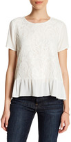 Gibson Short Sleeve Lace Front Peplum Blouse (Petite)