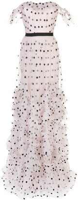 Marchesa Polka Dot Flutter Dress