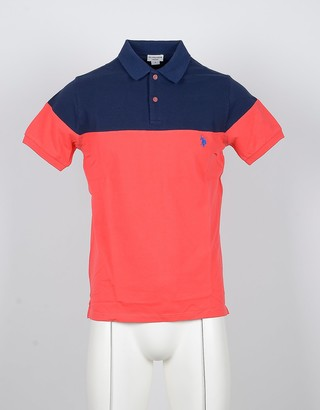 U.S. Polo Assn. Blue and Salmon Pink Color Block Cottton Men's Polo Shirts
