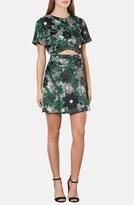 Topshop 'Ghost Flower' Cutout Satin Dress