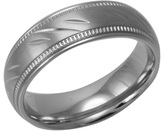 Zales Men's 7.0mm Diamond-Cut and Milgrain Stainless Steel Wedding Band