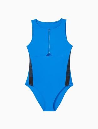 Calvin Klein Intense Power Zip One-Piece Swimsuit