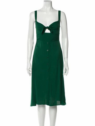 Reformation V-Neck Midi Length Dress Green