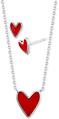 Unwritten Red Heart Stud Earrings and Pendant Necklace Set in Fine Silver-Plate