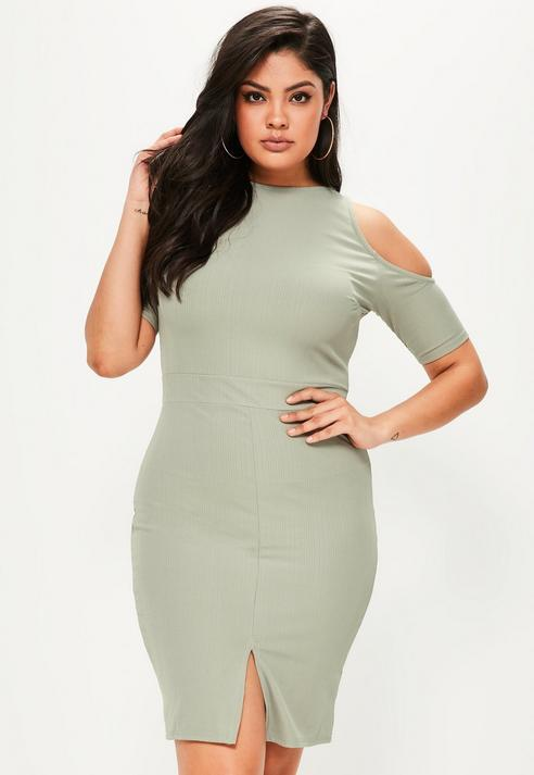 Missguided Size Green Cold Shoulder Bodycon Midi Dress