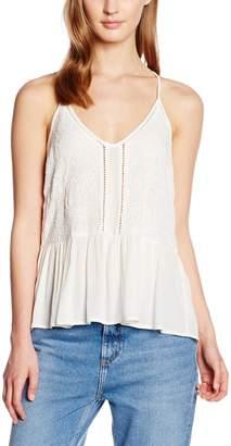 New Look Women's Embroided Peplum Cami Plain Sleeveless Tops