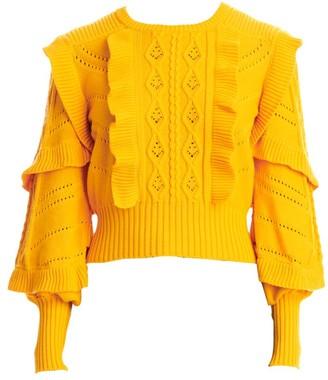 Carolina Herrera Cable Stitch Ruffle Puff-Sleeve Sweater