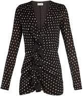 Saint Laurent Polka dot-print ruffled mini dress