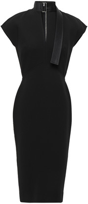 Victoria Beckham Quilted Silk Satin-trimmed Bonded Crepe Dress