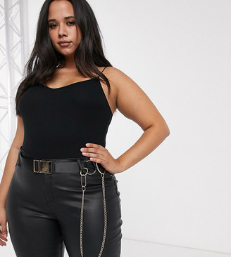 Asos DESIGN Curve utility buckle jeans belt with ring & chain detail in black