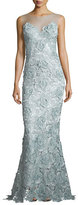 Catherine Deane Sleeveless Rosette Lace Mermaid Gown, Metallic Blue/Steel