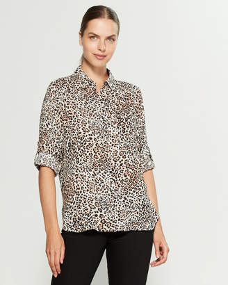 Grand & Greene Tan & Black Cheetah Print Roll Tab Shirt