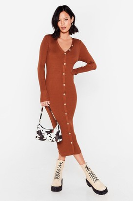 Nasty Gal Womens Break It Button-Down Ribbed Midi Dress - Brown - L