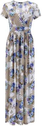 Ouges Women Short Sleeve V Neck Floral Print Wrap Maxi Long Dress with Pocket Apricot Large